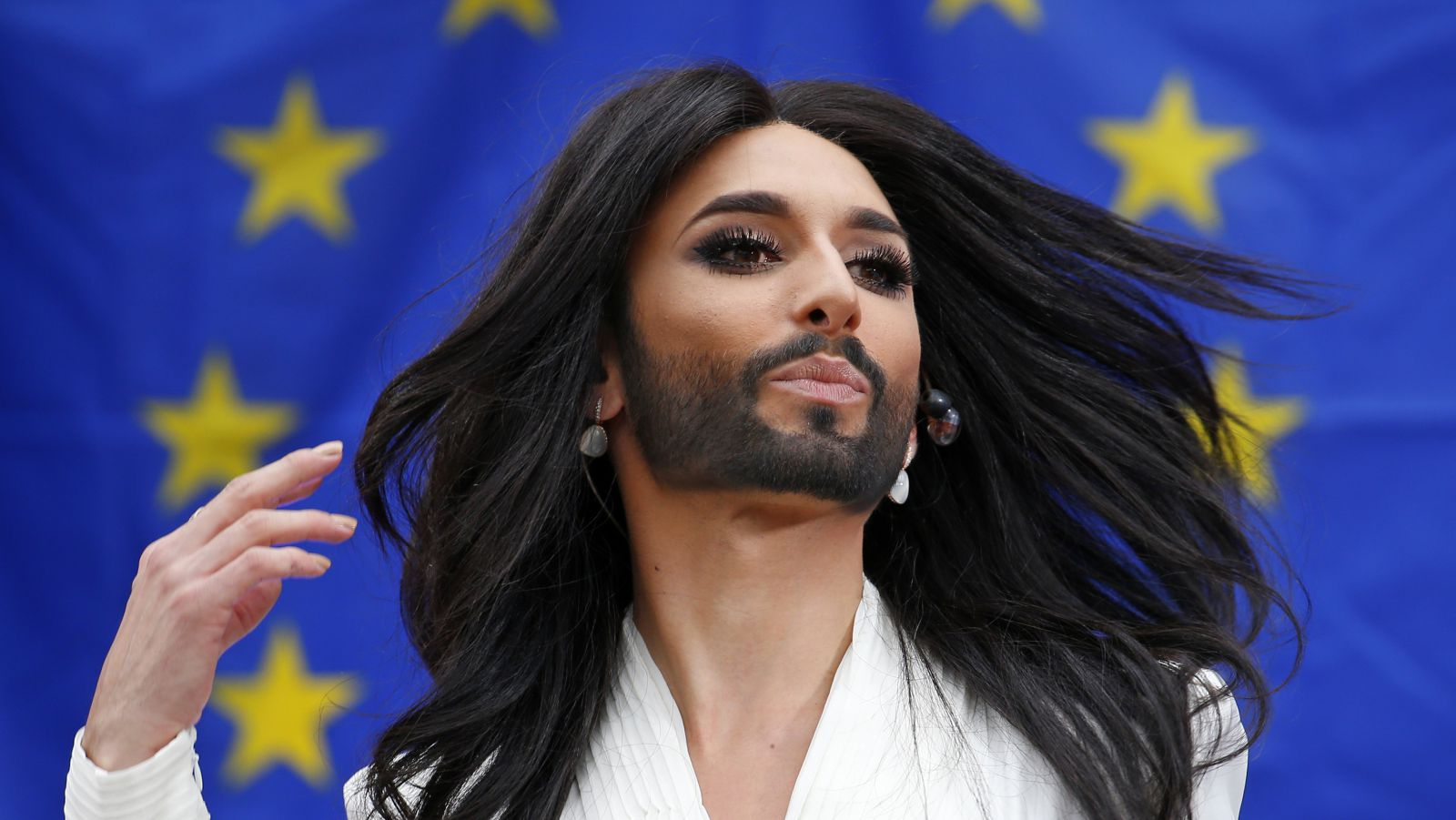 Eurovision Man with Beard in Womans Clothes