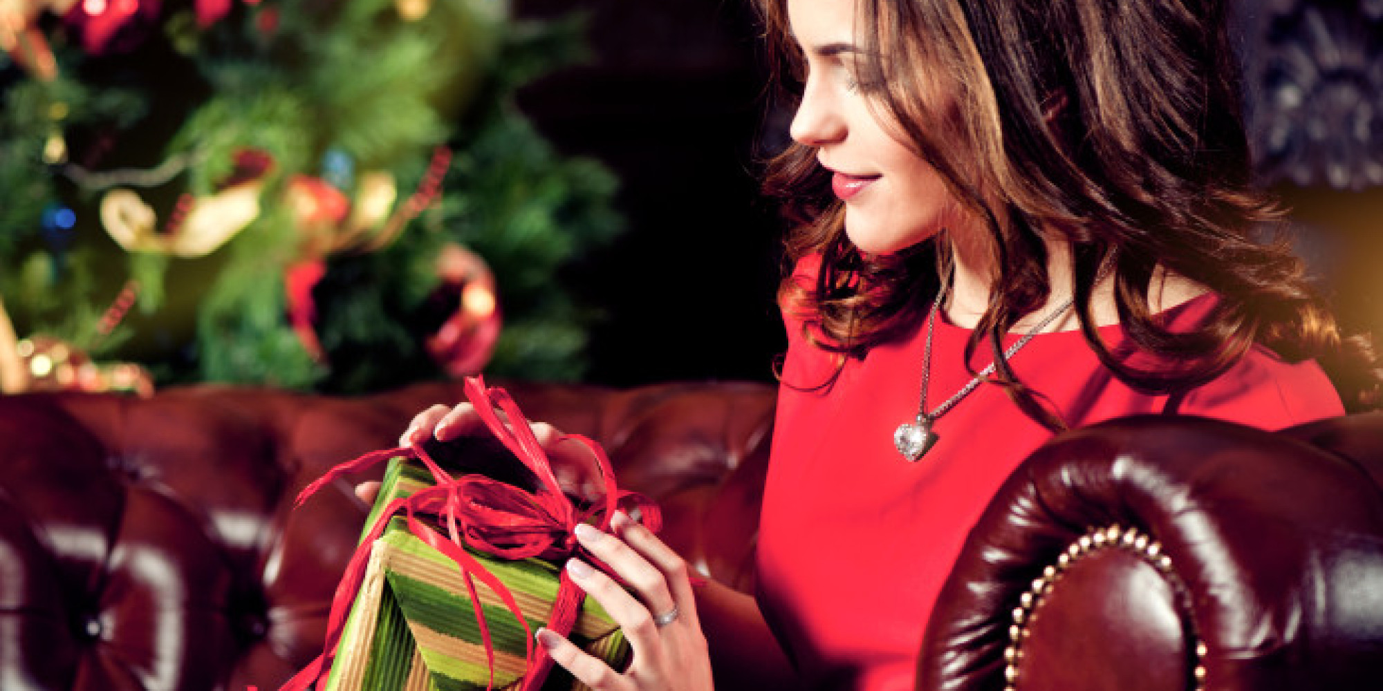 women red dress luxury present