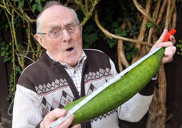 elderly man with cucumber
