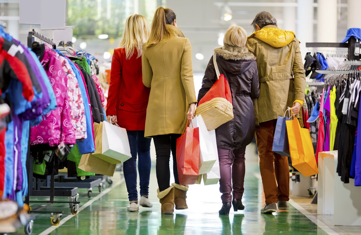 Family of Four Shopping