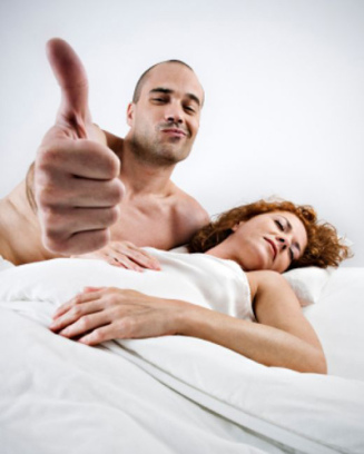 happy man in bed thumb up