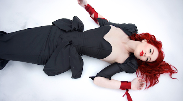black dress woman red haired