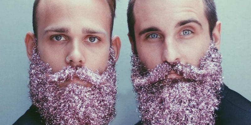 two men glitter beards