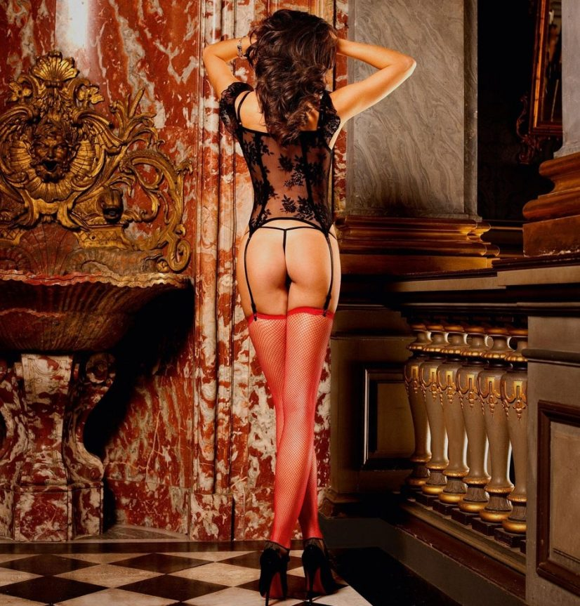 Red Cross Stockings Lace Corset