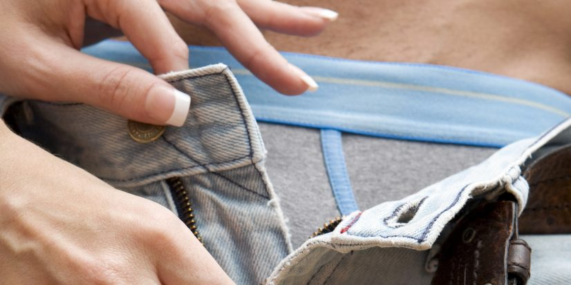 Women Unzipped Mans Pants