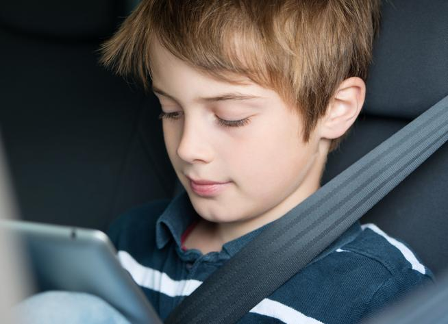 Child on Mobile In Car