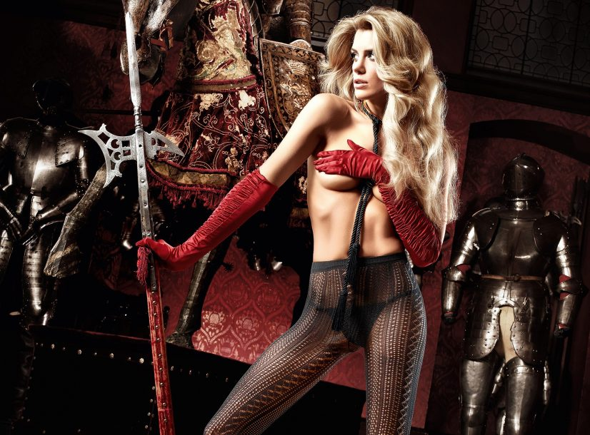 Elle Liberachi in Stocking Red Gloves