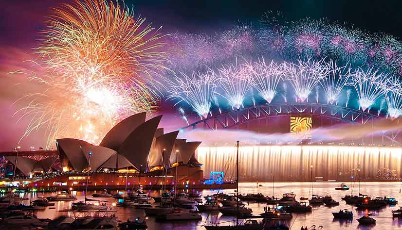 Sydney Fireworks at Opera House and Sydney Harbour Bridge Photo