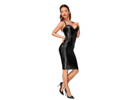 Decadence Powerwetlook Dress with Tape Inserts on Waist and Bust