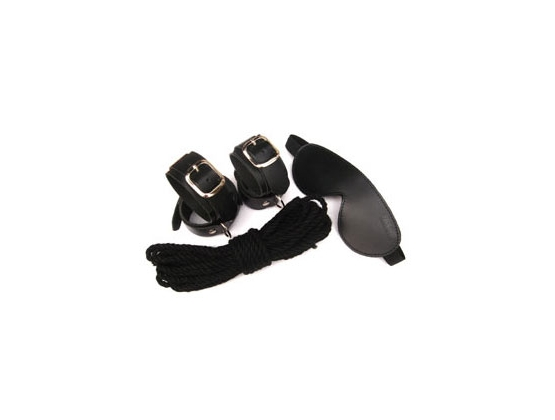 ManorGear Kit Mask, Wrist/Ankle Cuffs, Blindfold & Rope
