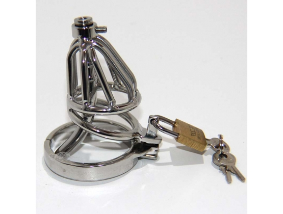 Locked In Pee Thru Steel Male Chastity Cage