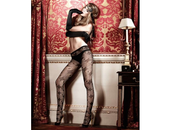 Baci Geometric Diamond Net Pantyhose