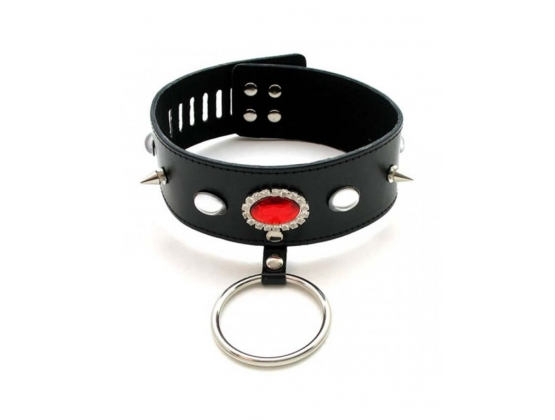 Jewelled Fetish Collar With O Ring