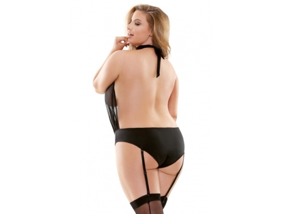 Curve Raquel Sheer Playsuit With Garters