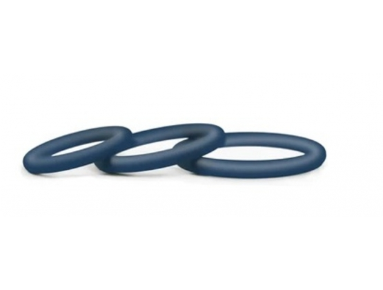 Hombre Snug-Fit Silicone Thin C-Rings 3 pk Navy