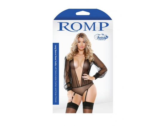ROMP Long Sleeve Sheer Teddy Romper & Garter