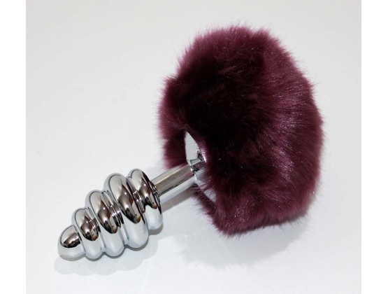 Bunny Tail Silver Ribbed Butt Plug