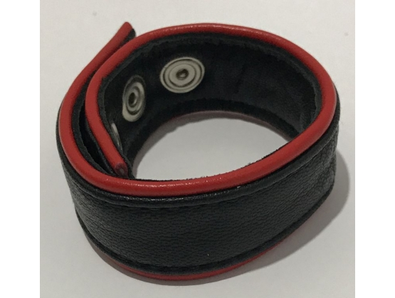 Classic 4-Speed Black & Red Leather Cock Ring