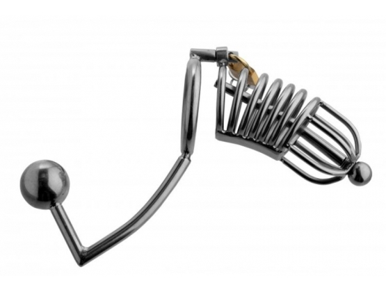 Condemned Penetration Cage with Anal Urethral Insertion