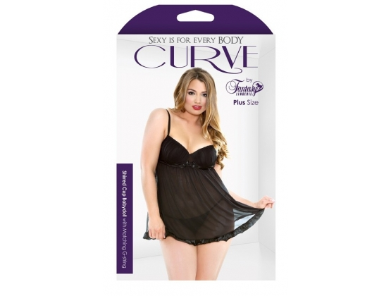 Curve Shirred Cup Babydoll And G-String