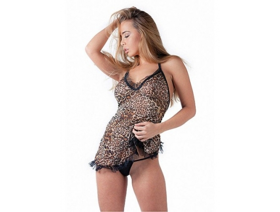 De Namour Babydoll Set With G-String Tiger Print