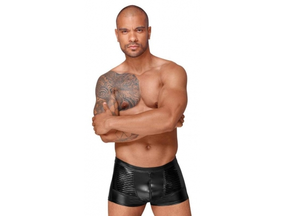 Decadence Powerwetlook Men's Shorts with Decorative PVC Pleats