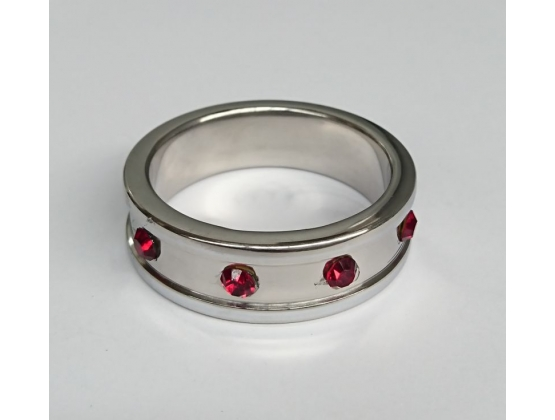 Deep Shallow Steel Cock Ring 45mm with Ruby Gem