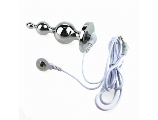 Electric Shock Metal Anal Plug with Harness