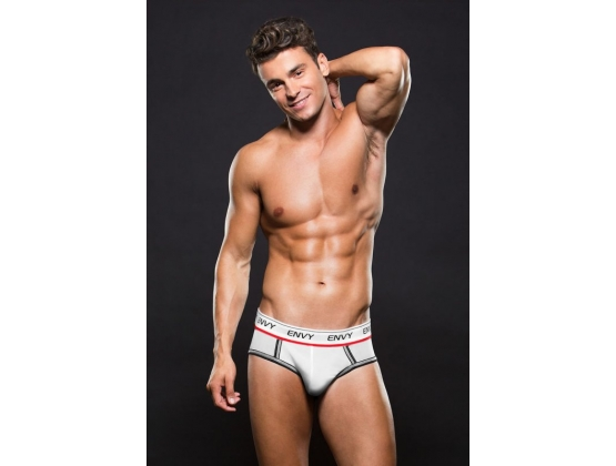Envy Logo Elastic Low Rise Mesh Brief M/L - White