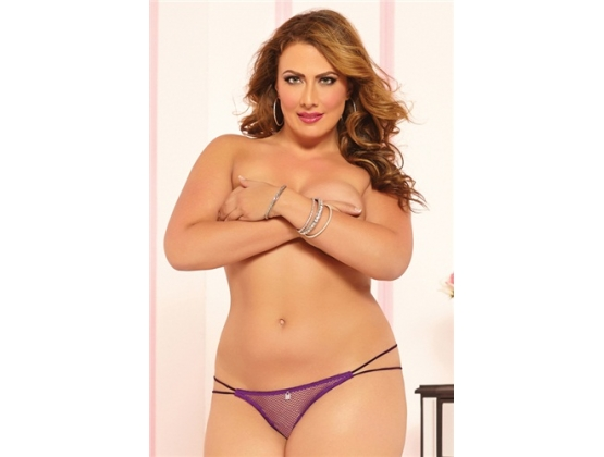 Fishnet Open Crotch Thong Purple