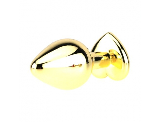 Heart Jeweled Stainless Steel Golden Butt Plug Small