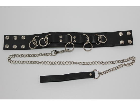 FairVilla Ladies Bondage Collar with O-Rings and Lead
