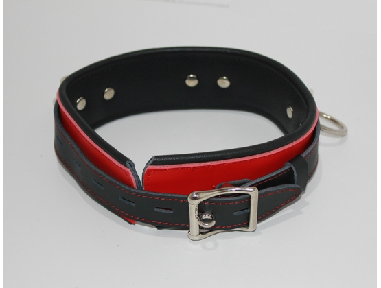BondageInc Bondage Red and Black Collar with O-Rings