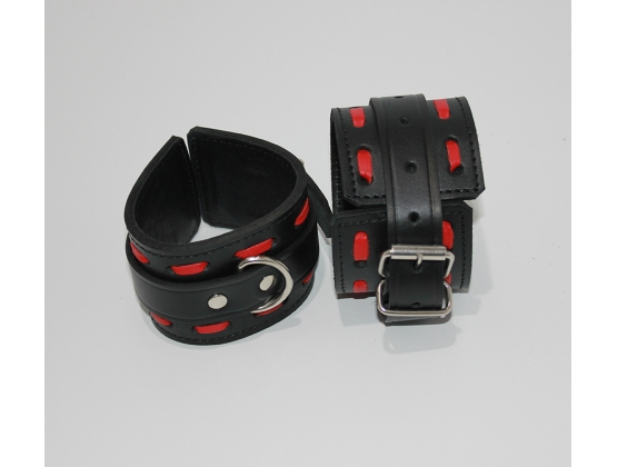 Infernal Restraints Wrist Black Leather with Red Stitching