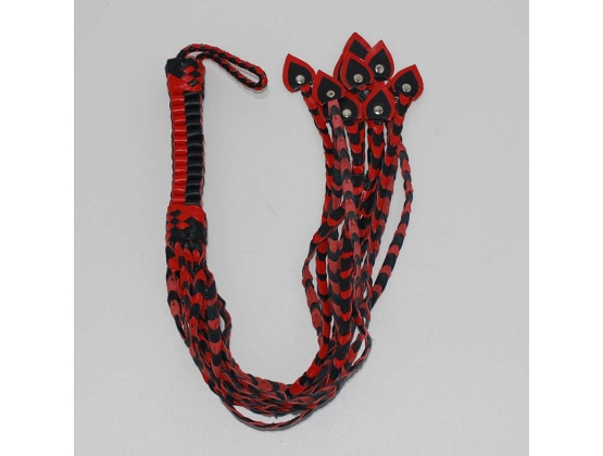 Whippa Leather Flogger with  Braided Handle Black/Red