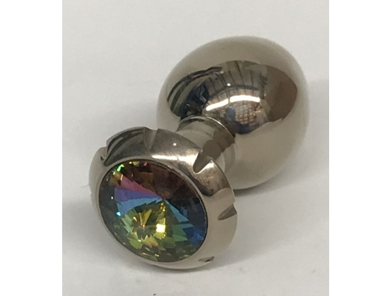 Jewelled Lotus Metal Butt Plug Small Rainbow