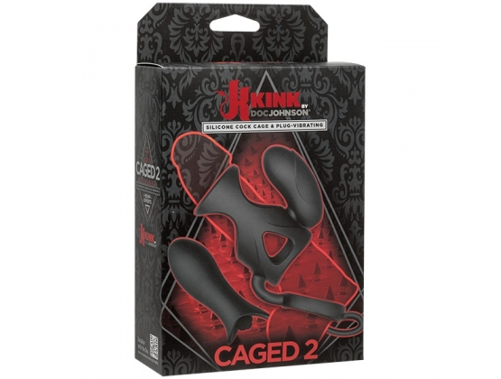 Vibrating Silicone Cock Cage with Ball Strap and Dual Bullets
