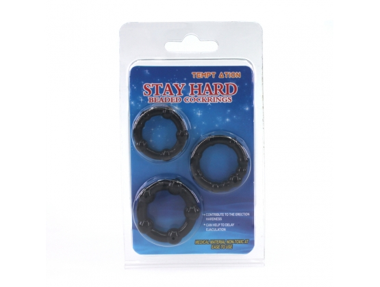 Stay Hard Beaded Cock Ring Set