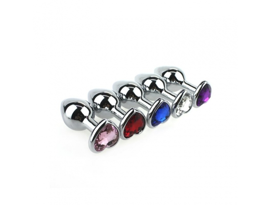 Heart Jeweled Purple Stainless Steel Butt Plug Small