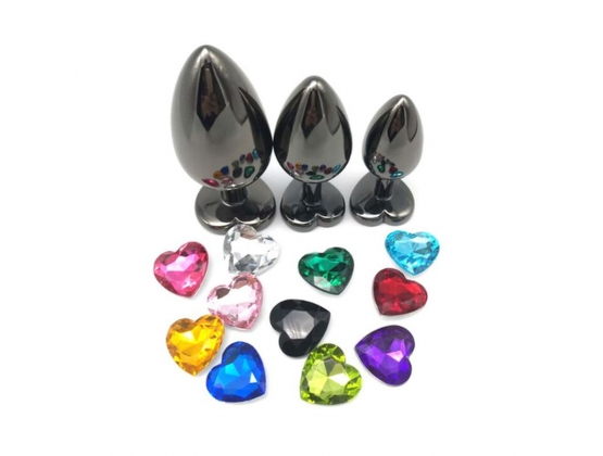 Heart Jeweled Black Stainless Steel Butt Plug Small