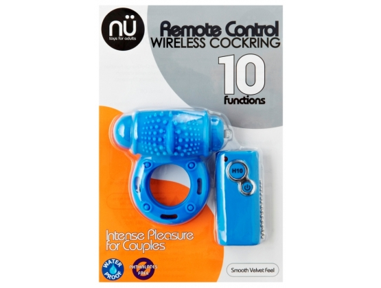 Nu Sensuelle 10 Function Remote Control Wireless Cockring Blue