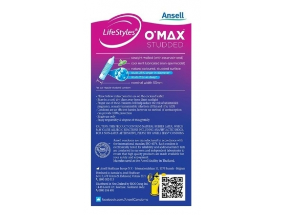 Ansell LifeStyles O-Max Condoms 10 Pack