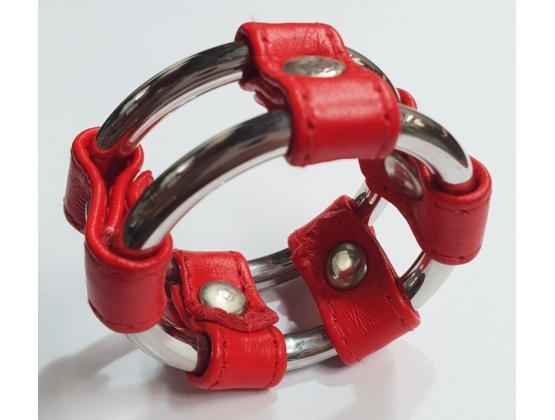 Plain Tube Steel Double Cock Ring Red 45mm