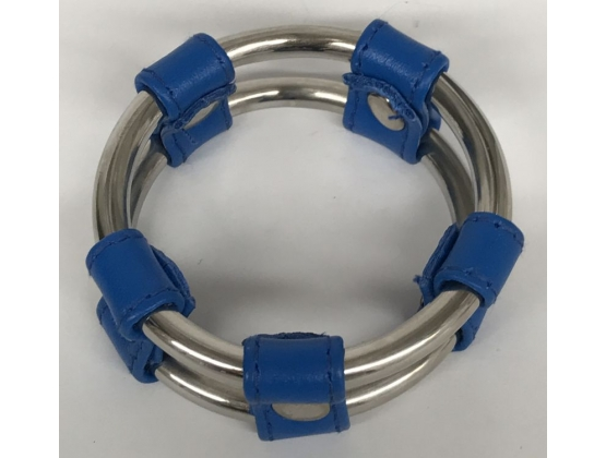Plain Tube Steel Double Cock Ring Blue 40mm