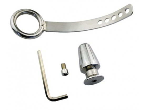 Cock Ring with Adjustable Attached Steel Butt Plug