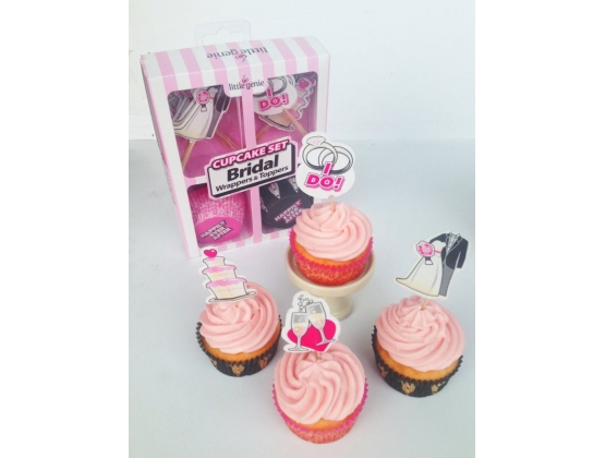 Cupcake Set Bridal Wrappers and Toppers