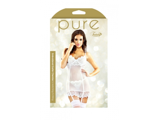 Pure Embroidered Garter Chemise & G-String