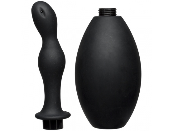 Kink Flow Full Flush Silicone Anal Douche & Accessory Black
