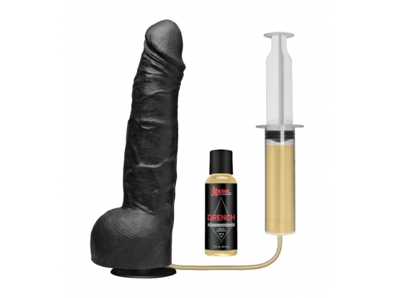 Kink Wet Works Drencher - Silicone Squirting Cock Black