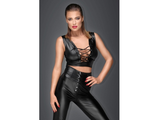 Powerwetlook Top with Lacing and Adjustable Straps